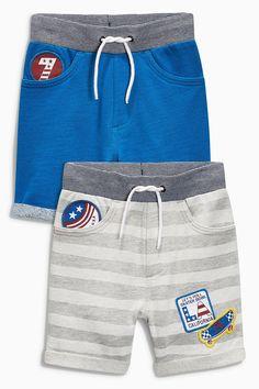 Buy Cobalt/Stripe Badge Shorts Two Pack from the Next UK online shop Toddler Pants, Toddler Boys, Kids Girls, Kids Shorts, Boy Shorts, Kids Fashion Boy, Boys Wear, Summer Boy, Boys T Shirts