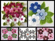 Artesanato com amor...by Lu Guimarães: Flolha e flor em crochê