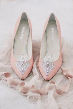 Blush Pink Art Deco Vintage Kitten Heel Wedding Shoes #blush Photography by Justina Bilodeau