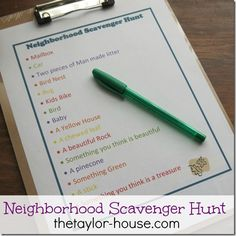 Free Printable Scavenger Hunt, Summer Activities for Kids Series: Neighborhood Scavenger Hunt