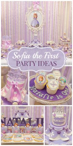 What a lovely Sofia the First girl birthday party in shades of purple! See more party ideas at CatchMyParty.com!