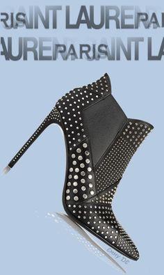 Emmy DE * SAINT LAURENT Studded leather ankle boots