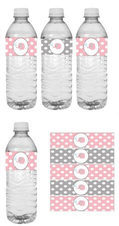 Printable pink and gray elephant baby shower water bottle wrappers. Elephant bab… Printable pink and gray elephant baby shower water bottle wrappers. Baby Shower Gift Bags, Baby Shower Drinks, Shower Party, Baby Shower Games, Shower Gifts, Baby Shower Printables, Baby Shower Invitations, Imprimibles Baby Shower, Baby Elefant