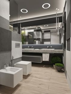Contemporary Bathroom Decor Ideas Combined With Wooden Accents Become a Remarkable Design Modern Bathroom Design, Contemporary Bathrooms, Bathroom Interior Design, Modern Interior Design, Dream Bathrooms, Beautiful Bathrooms, Wooden Bathroom, Bathroom Plans, Modern Shower