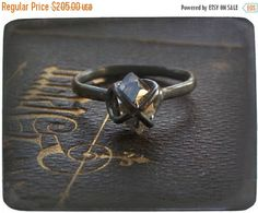 BETROTHED. Handmade Goth Engagement Ring Herkimer Diamond