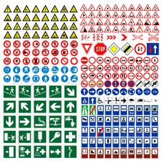 Buy Vector Traffic Roads Signs Mega Pack by unoamuzzo on GraphicRiver. vector traffic and roads signs mega pack! high quality and fully editable. All you want is this mega pack! Road Safety Signs, Road Safety Poster, Safety Posters, All World Flags, Traffic Symbols, Safety Stock, Mega Pack, Paper Models, Health And Safety