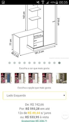 Preço e medidas armário, gaveteiro e escrivaninha