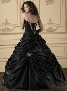 Black Quinceanera Dress - House of Wu Quince Collection 26609, beautiful details on this wedding dress