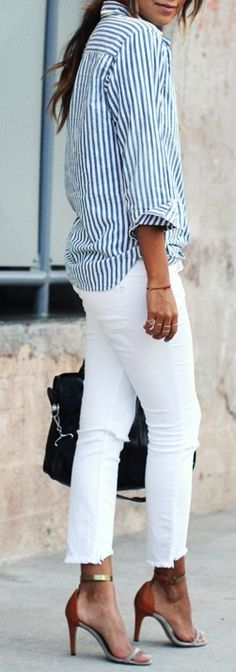 striped shirt, white jeans, strappy sandals