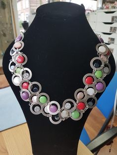 Colorful dit necklace.