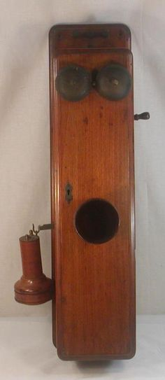 ANTIQUE c1880 WOOD COFFIN CASE WALL TELEPHONE W/WOOD RECEIVER & TRANSMITTER