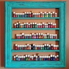 Oil shelf, Nail polish shelf, Essential oil storage, wood frame shelf, farmhouse decor, oil display, hanging shelf, nail polish rack. #essentialoils #ad #eos #oilstorage #organization #doterra #youngliving #yl