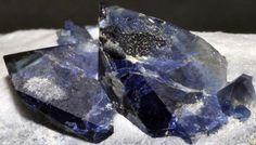 Benitoite crystals on a natrolite matrix