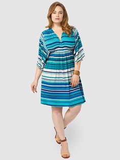 Mini Caftan Dress In Sea Stripe by Rachel Pally,Available in sizes L,1X/2X and 3X