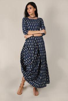 1b4c4d4bcce0 Buy Bagru Paisley Leaf Cotton Maxi Dress Online - Shop for Dresses Online  at Best Prices