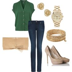 Green, nude and gold accents