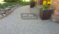 Exposed Aggregate Concrete Front Yard Pad By Nice Guy Concrete Exposed Aggregate Concrete, Concrete Contractor, Pool Ideas, A Good Man, Guy, Yard, Landscape, Google Search, Nice