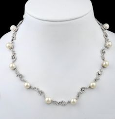 Amazon.com: JanKuo Jewelry Silver Tone Fancy Prom and Bridal Pearls on Vines CZ Necklace and Earrings Set with Gift Box: Jewelry