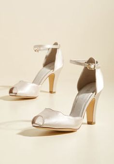 c27f6528ffd Scallop Your Alley Peep Toe Heel in Ivory Bridal Heels