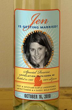 Bachelorette wine labels with customized with a  photo. $37.00, via Etsy.