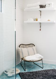 Dandelion Cement Tiles From Marrakech Design Adorn The Master Bathroom Chair Is Lawson
