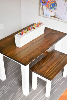 Make a stunning DIY Kid's Farmhouse Table with these step by step instructions. This kid's art table will foster independent learning and creative, open ended play for preschoolers and elementary scho Kids Art Table, Kids Craft Tables, Kids Bench, Kids Table And Chairs, Kid Table, Wooden Kids Table, Rustic Table, Farmhouse Table Plans, Farmhouse Furniture