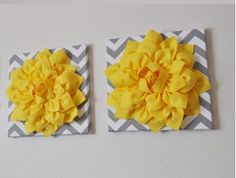 "TWO Wall Flower -Bright Yellow  Dahlia on Gray and White Chevron 12 x12"" Canvas Wall Art- Flower Wall Art by bedbuggs on Etsy"