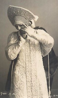 "Alexandra Balashova, a Russian ballerina, wearing a traditional costume with a headdress ""Kokoshnik"". 1914. #Russian_costume #old_photographs"