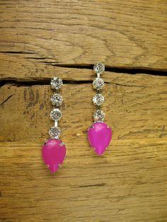 Neon Purple Purple Crystal Tear Drop Earrings by rockspapermetal, $24.00