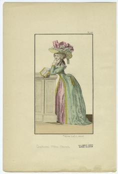 [French woman holding a book, 1780s.]