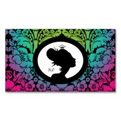 Salon Appointment Card Crown Floral Retro Damask Business Card