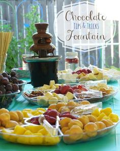 """Chocolate Fountain Tips & Tricks. {Some Learned the Hard Way} - - Tip When you are hosting a party and plan to use a chocolate fountain, the wind is not your friend. """"The Wind is NOT my Friend. Chocolate Fountain Wedding, Chocolate Fountain Recipes, Chocolate Fountains, Chocolate Recipes, Chocolate Snacks, Fondue Party, Party Appetizers, Fondue Recipes, Fondue Ideas"""