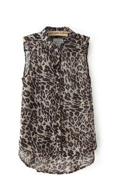 Love Love LOVE! Snow Leopard Printing Lapel Chiffon Sleeveless Blouse