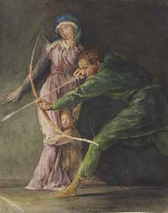 """""""The Last Arrow of Will of Cloudeslie,"""" John La Farge, 1867, watercolor and pencil on paper, 9¾ x 8"""", private collection."""