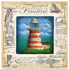 Lighthouse in frame Nautical Prints, Nautical Art, Seaside Shops, Art Carte, Lighthouse Art, Clip Art, Decoupage Vintage, Picture Cards, Sea And Ocean