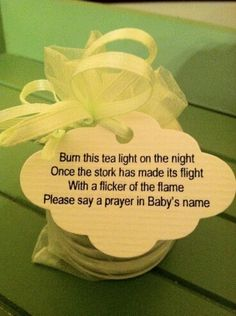 Cute candle favor to burn when baby is born