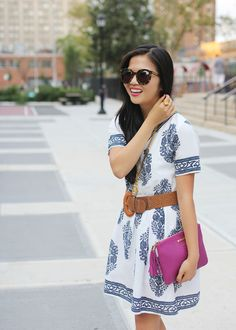 White & Navy Floral Dress by Chicwish