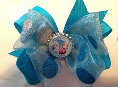 Turquoise Snow Sparkle Frozen Elsa Anna Bottlecap Bow- $8.00