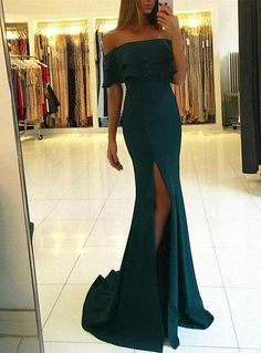 Green off the shoulder prom dresses with split evening gown B60