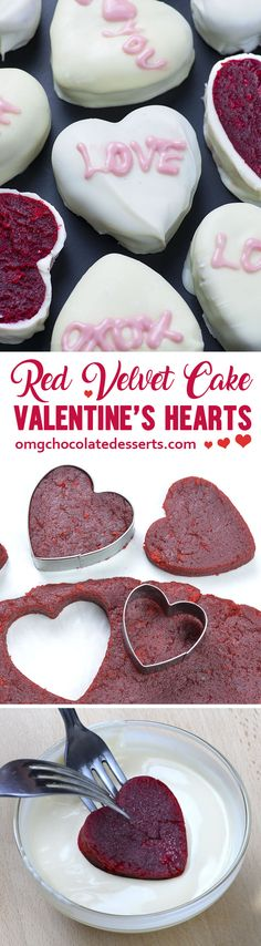 Red Velvet Cake Valentine's Hearts – fun and festive, bite sized treat for Valentine's Day!!! Classic Red Velvet Cake with Cream Cheese Frosting just got a holiday makeover!!
