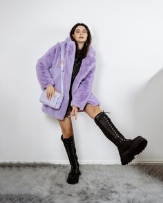 Fashion Outfits, Womens Fashion, Fashion Trends, Knee High Boots, Faux Fur, Winter Outfits, Combat Boots, Asos, Pastel Colours