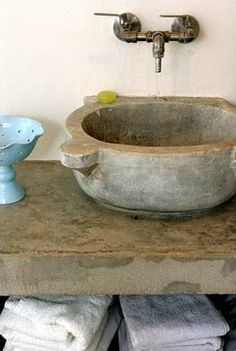 Inspiration from Bathrooms.com: Hamam basin as sink - the ultimate in upcycling? #basin #bathroom