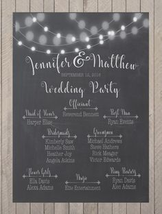 Our chalkboard bridal party sign is a special way to acknowledge those members of your wedding party that have are standing beside you, and creates a special way to remember your day after the event is over. This sign would look great displayed for all of your wedding guests near the guest book, at the entrance to your reception, by their table cards, or just about anywhere for your event. This matches perfectly with our wedding thank you sign (sold separately in the shop-shown in pic#2)…