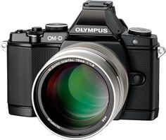 Oooh. Big glass. The Olympus M.ZUIKO DIGITAL ED 75mm f1.8 lens pairs nicely with the company's retro-styled OM-D E-M5 camera body.
