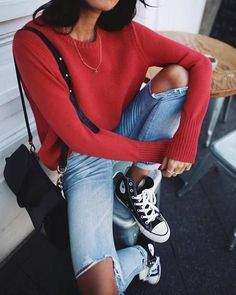 $60 Cool Grunge Skate Old School High Top Black And White Converse Sneakers Light Wash Blue Ripped Knee Denim Jeans And Bright Red Sweater Summer Spring Street Style Tumblr