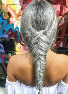 Granny Silver/ Grey Hair Color Ideas: Gray Fishtail Braid