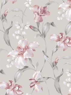 Hanalei Pink and Grey Floral Wallpaper, Pink And Grey Wallpaper, Textured Wallpaper, Flower Wallpaper, Wall Wallpaper, Wallpaper Backgrounds, Classic Wallpaper, Beautiful Wallpaper, Iphone Backgrounds, Floral Vintage
