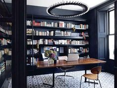 Home Office - Built In - Bookcase Ideas - Modern Glam - London Townhouse - Home Design London Townhouse, Townhouse Interior, London House, Home Office Design, Home Office Decor, House Design, Home Decor, Office Table, Office Ideas