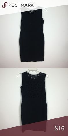 """HM Black Midi Dress with Back Detail HM Black Midi Dress with Back Detail for sale. Dress is a size small, Polyester and in great condition. Measurements: 17.5"""" hips 17.5"""" waist 14.5 H&M Dresses Midi"""