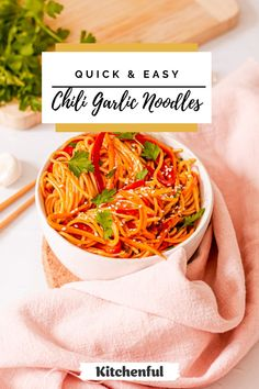 There's so many delicious ways to eat pasta noodles, and this Chili Garlic Noodles recipe tops them all as it's bursting with flavor but super easy to make. Plus, it's accidentally vegan! Dig into more comfort recipes over on Kitchenful! | easy meals | quick meals | vegan recipes | noodles recipes | dinner recipes | easy dinner recipes | vegan dinner | vegetarian recipes | vegan meals | noodle recipes | asian noodle recipes | chili | pasta recipes | fried rice recipe | Easy Healthy Pasta Recipes, Delicious Vegan Recipes, Vegan Dinners, Vegetarian Recipes, Easy Pasta Sauce, Easy Pasta Salad Recipe, Garlic Noodles, Pasta Noodles, Easy Dinner Recipes